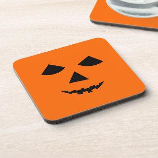 Cute Pumpkin Face Jack o Lantern Halloween Beverage Coaster