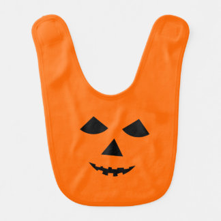 Cute Pumpkin Face Jack o Lantern Halloween Bib