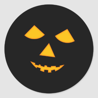 Cute Pumpkin Face Jack o Lantern Halloween Classic Round Sticker