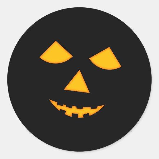 cute pumpkin face jack o lantern halloween classic round sticker