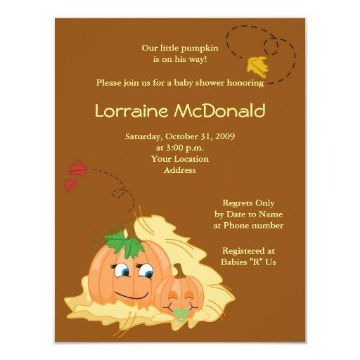 Cute Pumpkin Fall Autumn Baby Shower Invitation