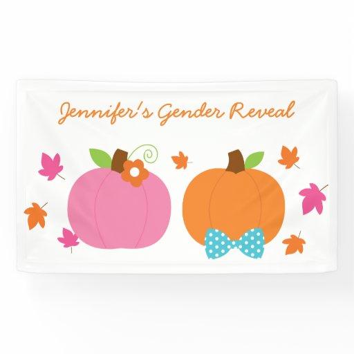 Cute Pumpkin Gender Reveal Banner