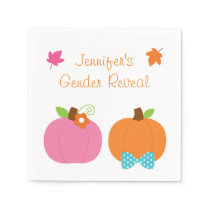 Cute Pumpkin Gender Reveal Paper Napkin