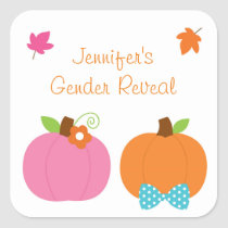 Cute Pumpkin Gender Reveal Square Sticker