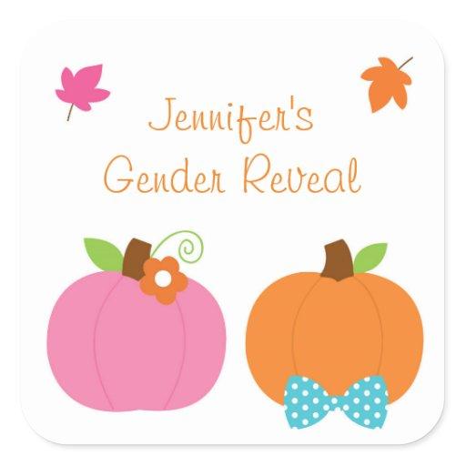 Cute Pumpkin Gender Reveal Square Sticker