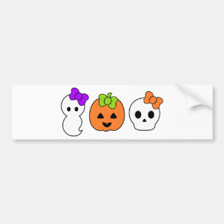 Cute Pumpkin, Ghost and Skull Bumper Sticker