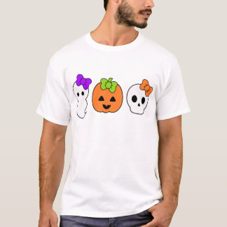 Cute Pumpkin, Ghost and Skull T-Shirt