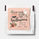 ⭐️ Cute Pumpkin & Ghost Blush Pink Halloween Favor Hand Sanitizer Packet