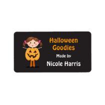 Cute pumpkin girl Halloween kitchen label Address Label