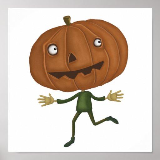 cute pumpkin head poster