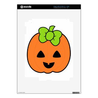 Cute Pumpkin Jack O Lantern with Cute Bow Decals For The iPad 2