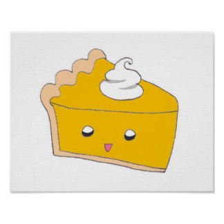 Cute Pumpkin Pie Slice Poster