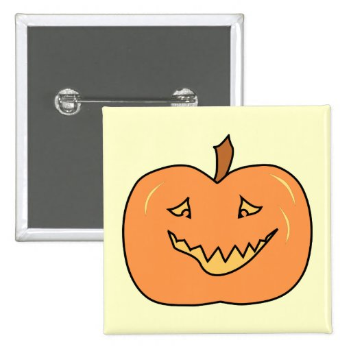 Cute Pumpkin, Smiling. Halloween. 2 Inch Square Button