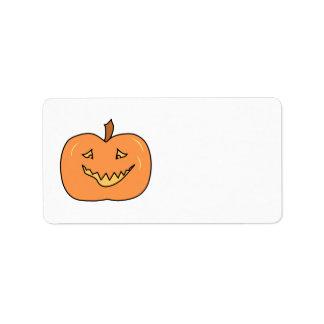 Cute Pumpkin, Smiling. Halloween. Label