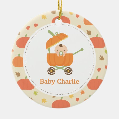 Cute Pumpkin Stroller Baby Nursery Ornament