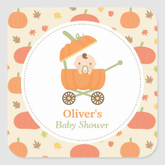 Cute Pumpkin Stroller Baby Shower Decor Stickers