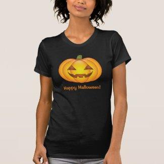 Cute Pumpkin With Happy Halloween Text T-Shirt