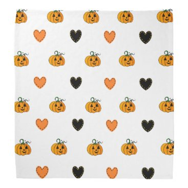 Halloween Themed Cute Pumpkins and Heart Patches Halloween Bandanna