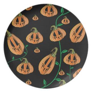 Cute Pumpkins Halloween Plate