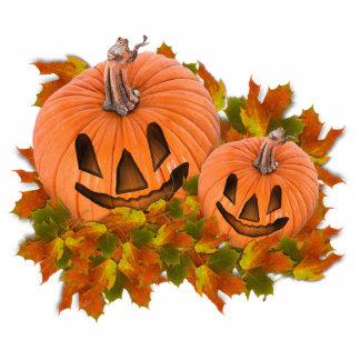 Cute Pumpkins in Fall Leaves Cutout