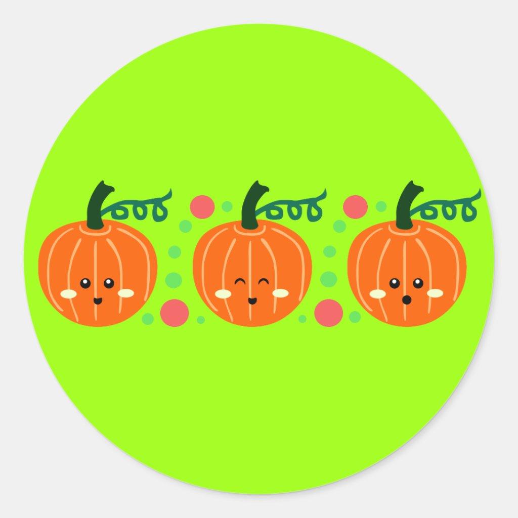 Cute Pumpkins Round Stickers