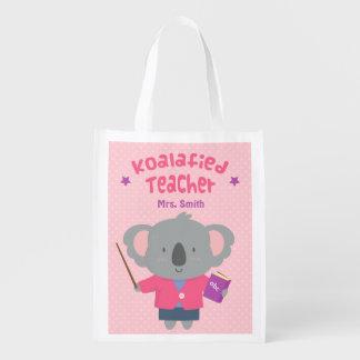 Cute Pun Humor Koala Bear Female Teacher Market Totes