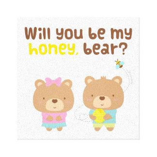 Cute Pun Love Confession Be My Honey Bear Canvas Print