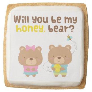Cute Pun Love Confession Be My Honey Bear Square Premium Shortbread Cookie