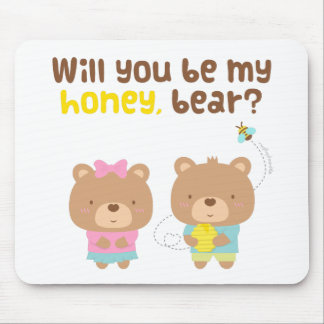 Cute Pun Love Confession Be My Honey Bear Mouse Pad