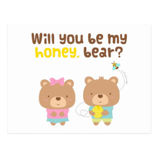 Cute Pun Love Confession Be My Honey Bear Postcard