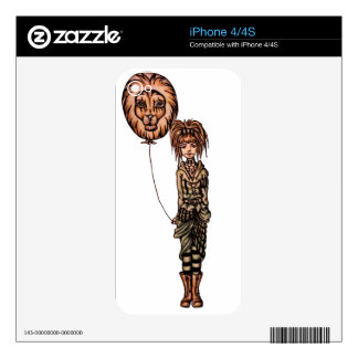 Cute Punk Cartoon of Girl Holding Lion Balloon Decals For The iPhone 4S
