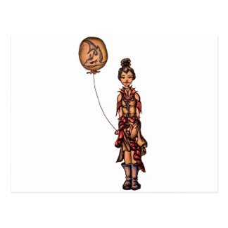 Cute Punk Cartoon of Girl Holding Shark Balloon Postcard