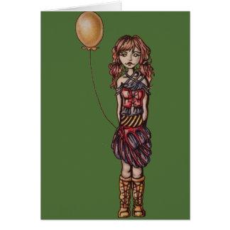 Cute Punk Cartoon of Girl Holding Yellow Balloon Card