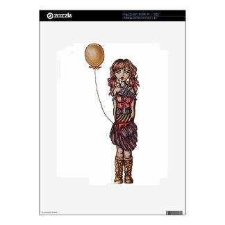 Cute Punk Cartoon of Girl Holding Yellow Balloon Decal For iPad 2