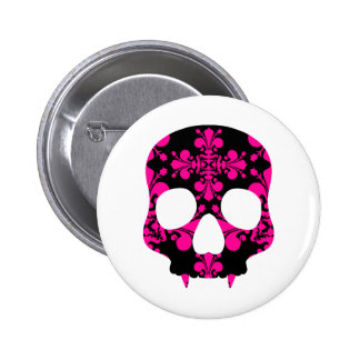 Cute punk goth fanged skull hot pink and black pinback button