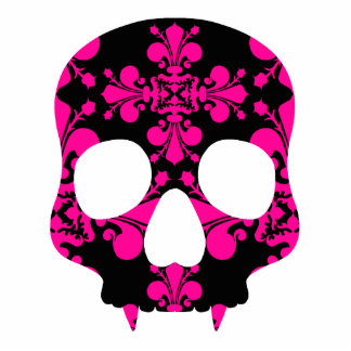 Cute punk goth fanged skull hot pink and black statuette