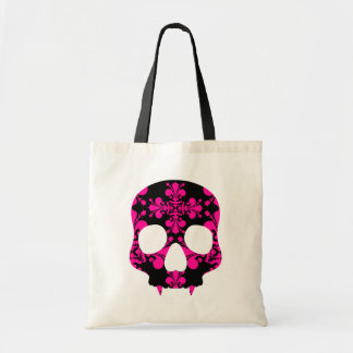Cute punk goth fanged skull hot pink and black tote bag