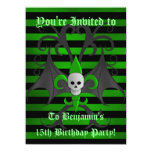 Cute punk goth skull green birthday party teen boy personalized invite