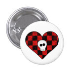 Cute punk goth skull in red checkered heart button
