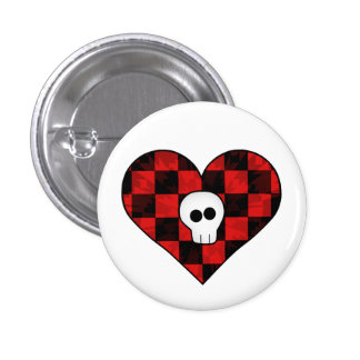 Cute punk goth skull in red checkered heart buttons