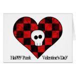 Cute punk goth skull in red checkered heart card