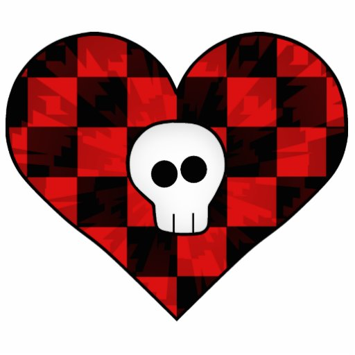 Cute punk goth skull in red checkered heart photo sculpture magnet