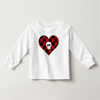 Cute punk goth skull in red checkered heart toddler t-shirt