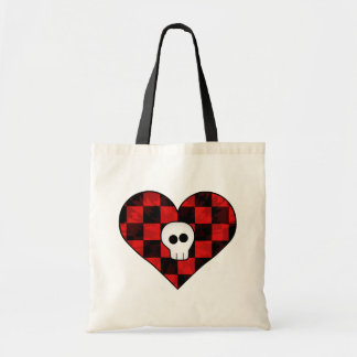 Cute punk goth skull in red checkered heart tote bag