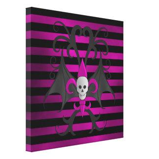 Cute punk goth skull with bat wings fuscia canvas print