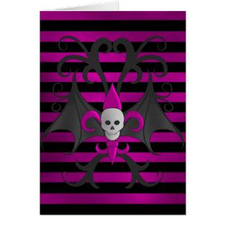 Cute punk goth skull with bat wings fuscia greeting card