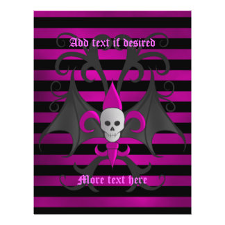Cute punk goth skull with bat wings fuscia full color flyer