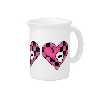 Cute punk hot pink and black heart and skull beverage pitcher