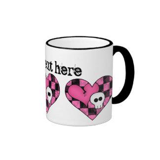 Cute punk hot pink and black heart and skull mugs