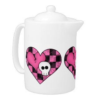 Cute punk hot pink and black heart and skull
